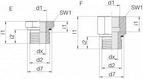 Переходник GP-SDS-G1/4E-IG3/4