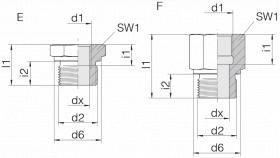 Переходник GP-SDS-G1/2B-IG1/8