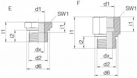 Переходник GP-SDS-G11/4B-IG11/2