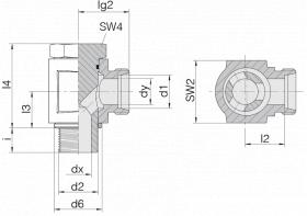 Соединение поворотное 24-BEE-L6-G1/8B