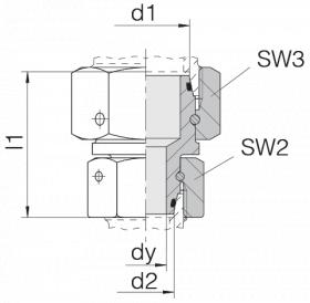 Соединение с двумя гайками 24-SW2OS-L28-L18-CP2