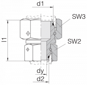 Соединение с двумя гайками 24-SW2OS-L22-L15-CP12