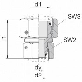 Соединение с двумя гайками 24-SW2OS-L35-L28-CP2
