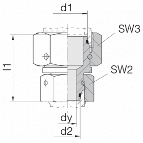 Соединение с двумя гайками 24-SW2OS-L42-L35-CP1