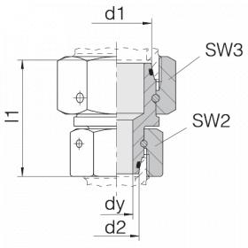 Соединение с двумя гайками 24-SW2OS-S38-S30-CP2