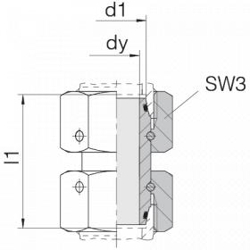 Соединение с двумя гайками 24-SW2OS-S25-LG73