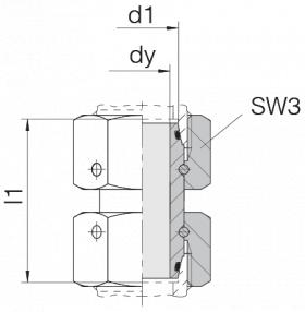 Соединение с двумя гайками 24-SW2OS-L18-CP2